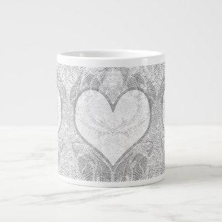 Lace Heart Add Text Large Coffee Mug