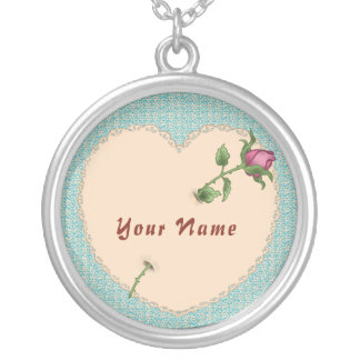 Lace Heart Rose custom name Round Necklace
