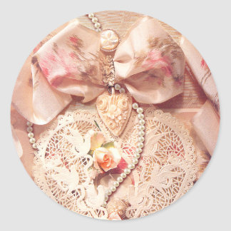 LACE HEART, ROSES & PEARLS by SHARON SHARPE Classic Round Sticker