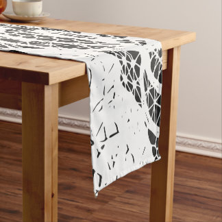 Lace in Modern Elegant Black and White Patterns Short Table Runner