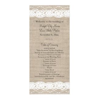 Lace in White on Burlap Wedding Program Custom Rack Card
