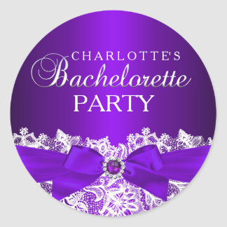 Lace & Jewel Bow Purple Bachelorette Sticker