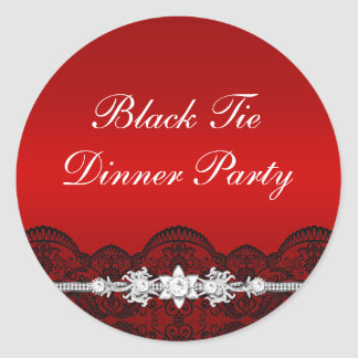 Lace & Jewel Red Black Tie Dinner Party Sticker