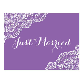 Lace Just Married Purple Wedding Announcement Postcard