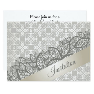 Lace leaves invitation on a floral wallpaper