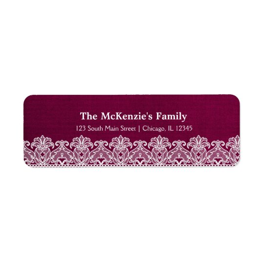 Lace (Maroon) Return Address Label
