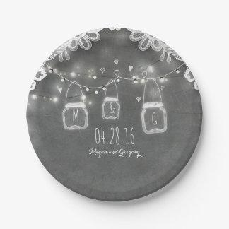 Lace Mason Jar Lights Rustic Chalkboard Barn 7 Inch Paper Plate