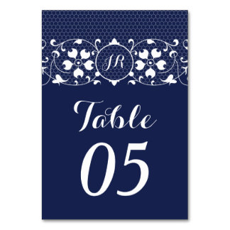 Lace Monogram Wedding Table Numbers Card