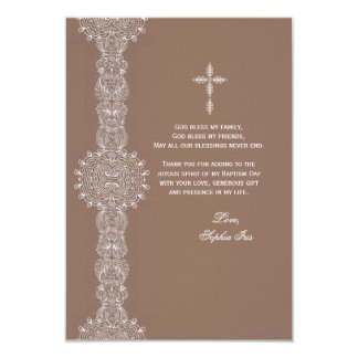 """Lace Pillar Thank You Note 3.5"""" X 5"""" Invitation Card"""
