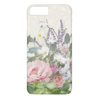Lace Pink Peony Floral w Wild Flowers Hand Painted iPhone 8 Plus/7 Plus Case