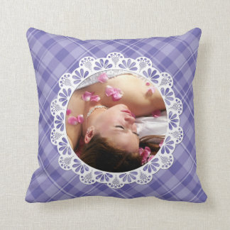 Lace & plaid design -purple flower petal- throw pillow