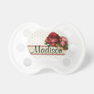 Lace & Polka Dots w/ Roses Custom Pacifier