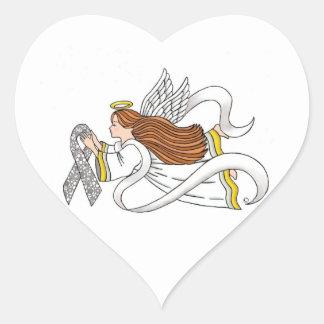 """Lace Ribbon"" Awareness Angel Heart Sticker"