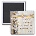 Lace, ribbon flower & wood wedding Save the Date Square Magnet