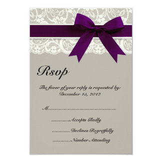 Lace Ribbon Gray and Plum RSVP Card