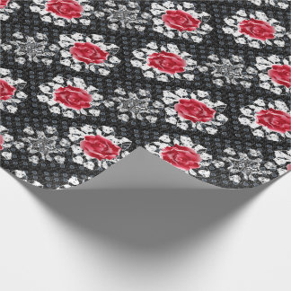 Lace Roses Goth Heavy Metal Wrapping Paper