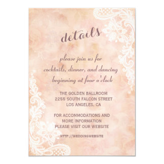 Lace Roses Old Paper Wedding Details Reception Card