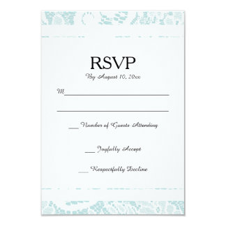 Lace RSVP Card - Teal Blue Response Card