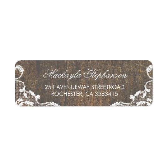 Lace Rustic Wood Wedding Return Address Label
