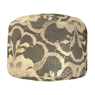 Lace Sepia Gold Faux  Floral Girly Glam Black Pouf