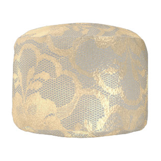 Lace Sepia Gold Faux  Floral Girly Glam Gray Pouf