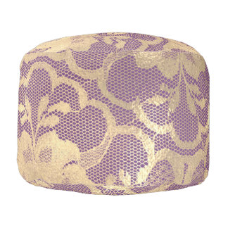 Lace Sepia Gold Faux  Floral Girly Glam Purple Pouf