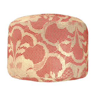 Lace Sepia Gold Faux  Floral Girly Glam Red Royal Pouf