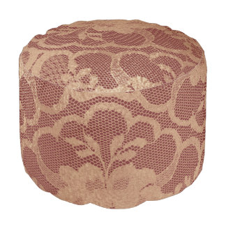 Lace Sepia Rose Gold Floral Glam Maroon Burgundy Pouf