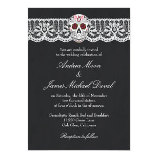 Lace Sugar Skull Chalkboard Wedding Invitations