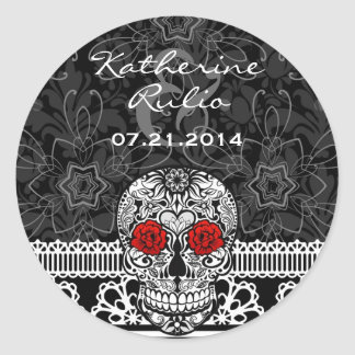 Lace Sugar Skull Day of the Dead Save the Date Round Sticker