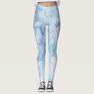 *~* Lace Texture Watercolor Blue Turquoise Leggings