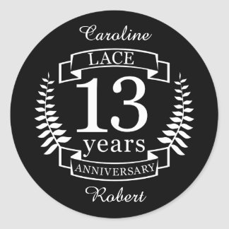 Lace Traditional wedding anniversary 13 years Classic Round Sticker
