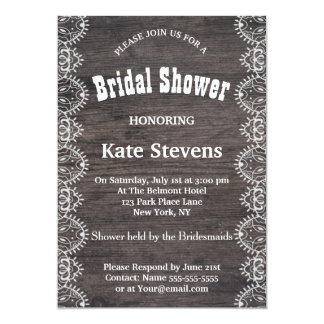 Lace Wedding Bridal Shower Wood Invitation Card