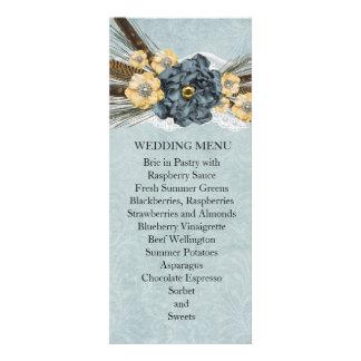 Lace Winter Blue Floral Kiss Wedding Menu Invites