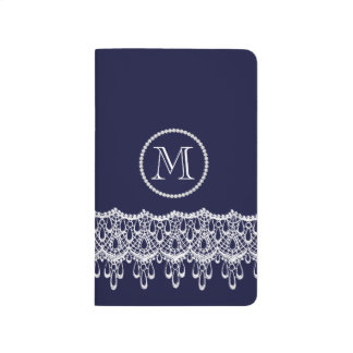 Lace With Pearls Monogram Accent Journals