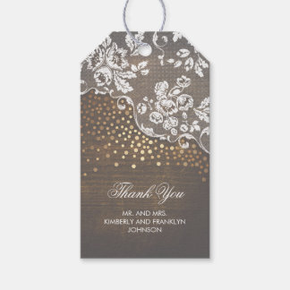 Lace Wood and Gold Confetti Rustic Wedding Gift Tags