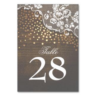 Lace Wood Gold Confetti Rustic Wedding Card