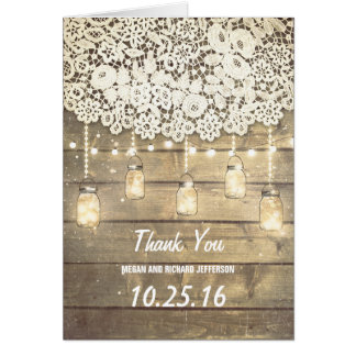 Lace Wood Lights Mason Jar Barn Wedding Thank You Card