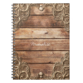 Lace Wood Rustic Vintage Western Elegant Farmhouse Notebook