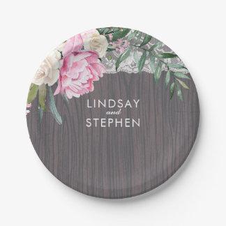 Lace Wood Vintage Pink Flowers Wedding Paper Plate