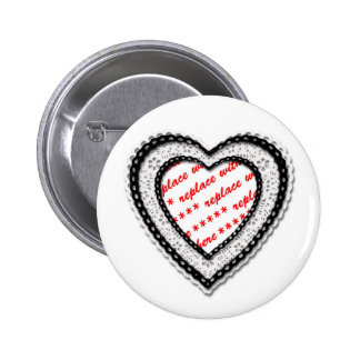 Laced Heart Shaped Photo Frame 2 Inch Round Button