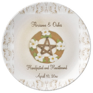 Lacey Dogwood Pentacle Handfasting Commemorative Porcelain Plate
