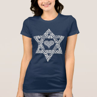 Lacey White Star of David with Hearts T-Shirt