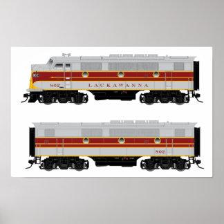 Lackawanna Diesel F3 A-B Set Locomotive Poster