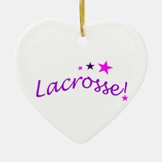 Lacrosse arquée avec des étoiles ornement cœur en céramique