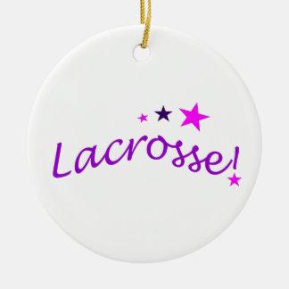 Lacrosse arquée avec des étoiles ornement rond en céramique