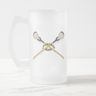 Lacrosse Boss Crossed Sticks Frosted Glass Beer Mug