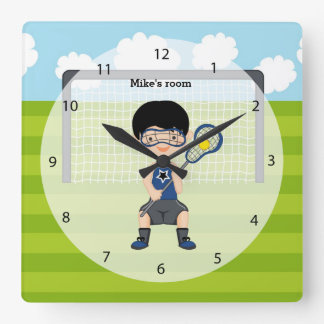 Lacrosse boy square wall clock