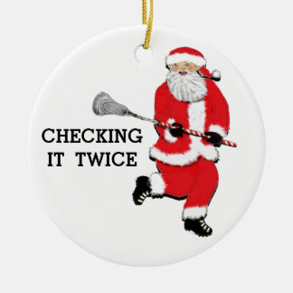 Lacrosse Christmas Collectible Ceramic Ornament