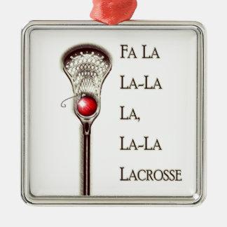 Lacrosse Christmas Silver-Colored Square Ornament
